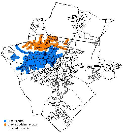 Orientacyjny zasięg terytorialny wody dostarczanej przez SUW Zacisze